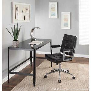 Bureau Contemporary Office Chair In Chrome And Faux Leather
