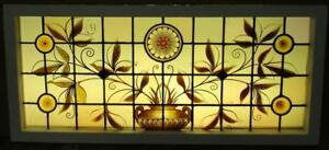 Large Old English Lead Stained Glass Window 1870s Victorian Beauty 40 75 X 18 25