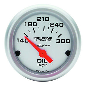 Autometer Ultra Lite Electric Oil Temperature 140 300 F Gauge 2 1 16 52mm