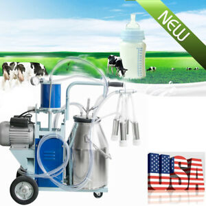 Durable Electric Milking Machine Milk Farm Cow Bucket 25l Stainless Steel 64 min