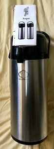 2 2 Liter Stainless Steel Airpot Glass Interior Keep Hot Coffee water Up To 8 Hr