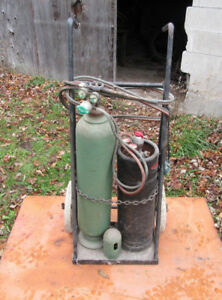 Vintage Oxygen Acetylene Tanks Cart Man Cave Shop Movie Set 1930s 40s 1950s