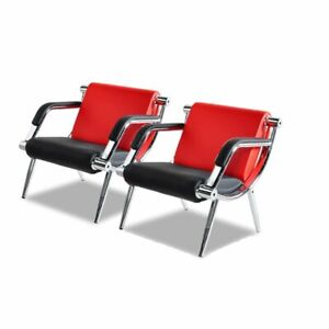 Modern Office Reception Waiting Chair W Pu Leather Visitor Guest Sofa Seat Red