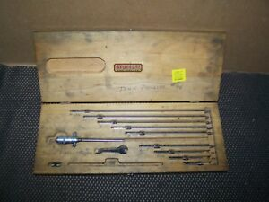 Old Vintage 12 Starrett 440 Depth Gauge Set W Wood Case