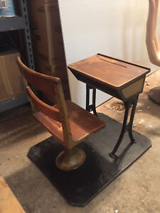 Antique Child S School Desk And Chair
