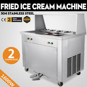Double Pan Fried Ice Cream Machine Yogurt Making Roll Maker 2 Pan 5 Buckets