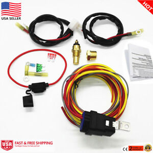 Heavy Duty 165 185 Electric Fan Relay Wiring Harness Thermostat Sensor 40a Kit