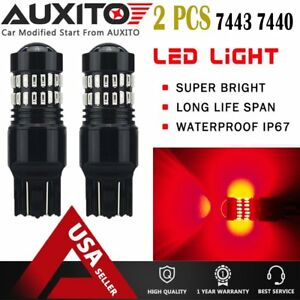 2x 7443 7440 Super Red Alert Flash Strobe Blinking Led Brake Tail Light Bulbs