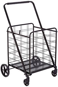 Folding Super Jumbo Shopping Cart 360 sturdy Max Load 150 Lb Durable black