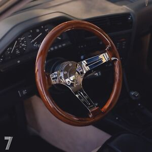Viilante 2 Dish 6 hole Steering Wheel walnut Wood Grain Chrome Bmw E30