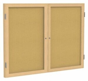 Ghent Push pin Indoor Enclosed Bulletin Board Cork 36 h X 48 w Natural