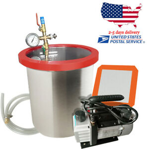 5 Gallon Stainless Vacuum Degassing Chamber Silicone W 3cfm Pump Hose Heavy duty