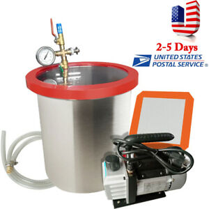 5 Gallon Vacuum Degassing Chamber Silicone Kit W 3 Cfm Pump Hose 110v Usa