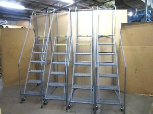 Ballymore 7 Step Stair Rolling Warehouse Ladder 300lbs Capacity Lot Of 4