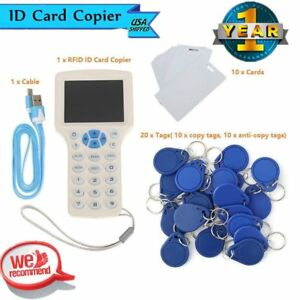 10 Frequency Rfid Id Ic Card Reader Writer Copier 10 Cards 20 Tags Ve