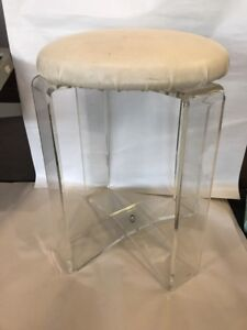 Vintage Mid Century X Base Lucite Acrylic Vanity Chair Stool Retro Modern