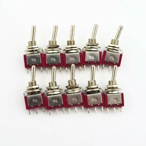 10pcs Red 3 Pin 3 Position On off on Spdt Mini Latching Toggle Switch
