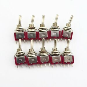 10pcs Red 3 Pin 3 Position on off on Spdt Mini Momentary Toggle Switch