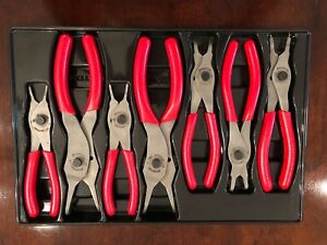 Snap On 7 Pc Retaining Ring Pliers Set Srpc107a Red Vinyl Grips