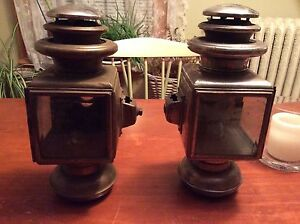 Brass Car Pair Solar No 1032 Brass 3 Tier Oil Side Lamps