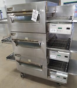 Used Lincoln Triple Stack Electric 208 60 3 Conveyor Oven Model 1132