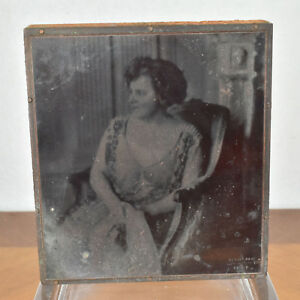 Vintage Copper Wood Press Printing Block Printer Cut Formal Lady Woman Portrait