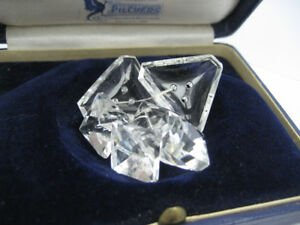 Antique Old Czech Facet Clear Crystal Glass Coat Jacket Buttons Triangle Square