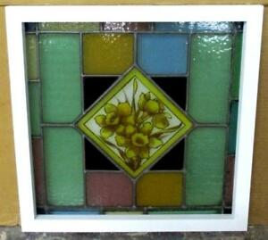 Victorian English Leaded Stained Glass Window Handpainted Flowers 20 5 X 20 25