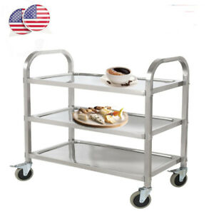 3 shelf Stainless Steel Commercial Restaurant Kitchen Utility Cart With Casters