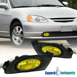 2001 2003 Fit Honda Civic Yellow Amber Lens Fog Lights Bumper Lamps W Switch