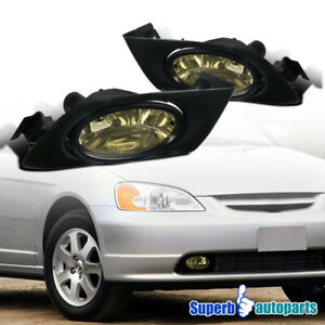2001 2003 Fit Honda Civic Smoke Lens Fog Lights Bumper Lamps W Switch