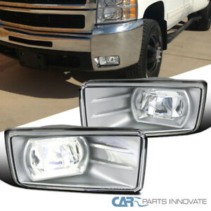 Chevy 07 14 Silverado Clear Smd Led Projector Fog Lights Driving Bumper Lamps