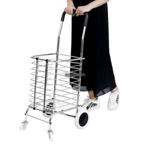 35inch Folding Shopping Cart With Basket Grocery Luggage Laundry Trolley