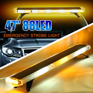 47 88led Flashing Strobe Police Light Bar Amber White Roof Beacon Warning Truck
