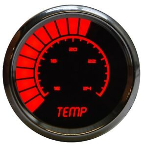 2 1 16 Universal Analog Water Temp Gauge Red Leds Chrome Bezel Made In The Us