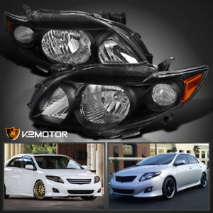 Fits 2009 2010 Toyota Corolla Replacement Black Headlights Left Right