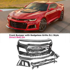 2016 2018 Camaro Ls Lt Ss Rs Front Bumper Cover W Badgeless Grille Zl1 Style
