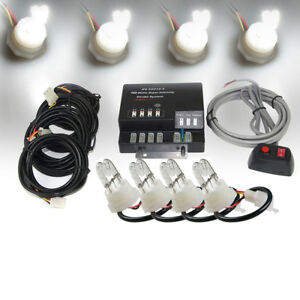 Xprite White 6 Hid Bulbs Emergency Hazard Warning Strobe Lights Kits Hide a way