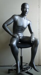 Male Mannequin Full Body Sitting Pose In Dark Silver