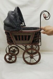 Victorian Style Baby Stroller Buggy Carriage Wicker Wood Home Decor Gbhatchery