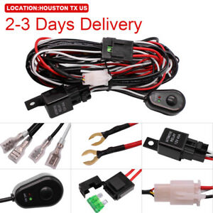 Us Location Led Light Bar Wiring Harness Kit On Off Rocker Switch Relay 12v 40a