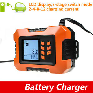 Smart Car Battery Charger Jump Starter Lcd Analyser Tester Booster 12v 2a 12a