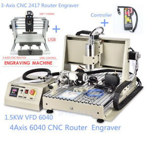 4 Axis 1500w 6040 Usb Cnc Router Engraving cnc 2417 Rounter Mill Engraver mach3