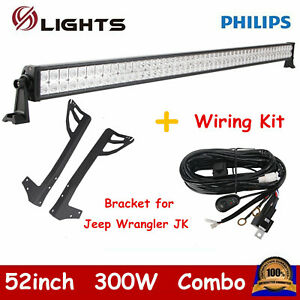 52inch 300w Philips Led Light Bar Wiring Kit Bracket For Jeep Wrangler Jk