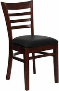 New Mahogany Wood Restaurant Dining Chairs Black Seat priced Per Chair