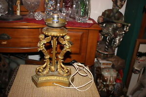 Antique Art Deco Figural Angel Cherub Metal Table Lamp 3 Cherubs Gold Color