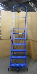Emerson Louisville Sw2407 7 Step Stair Rolling Warehouse Ladder 300 Lbs Capacity