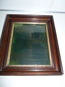 Vintage Wooden Deep Walnut Picture Frame W Glass Overall 11 5 X 13 5
