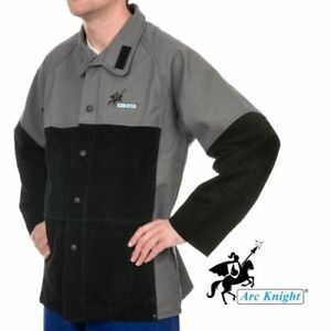 Weldas Arc Knight Heavy Duty Welding Jacket Cotton And Leather Sleeves Large