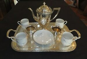 Wm Rogers Silver Plated 4pc Coffee Tea Set With Free Matching Cups 624